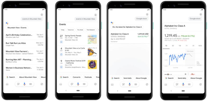 Screen shot van Google Assistent met rijke antwoorden