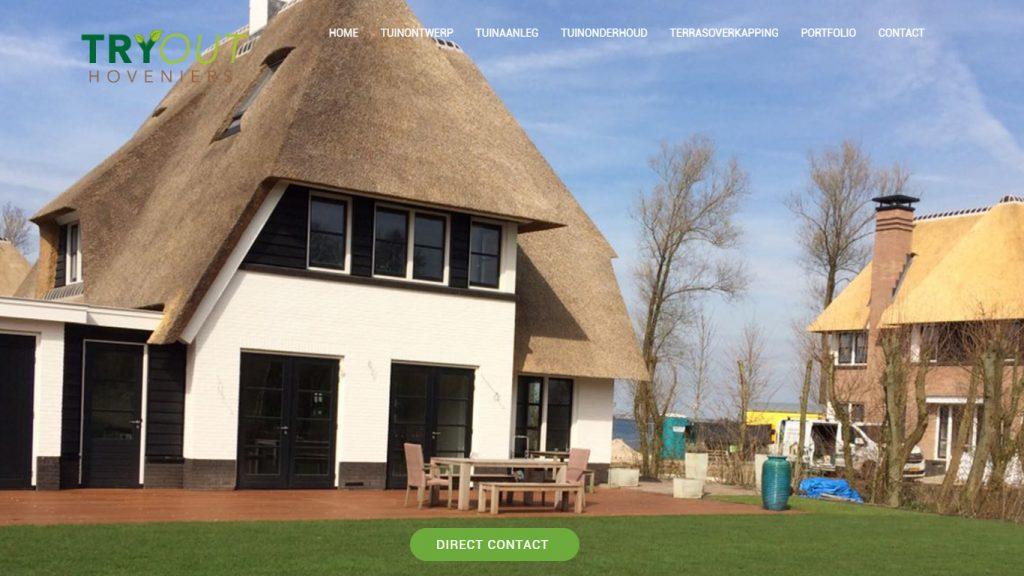 Screenshot van Wordpress website voor Try Out Hoveniers Almere