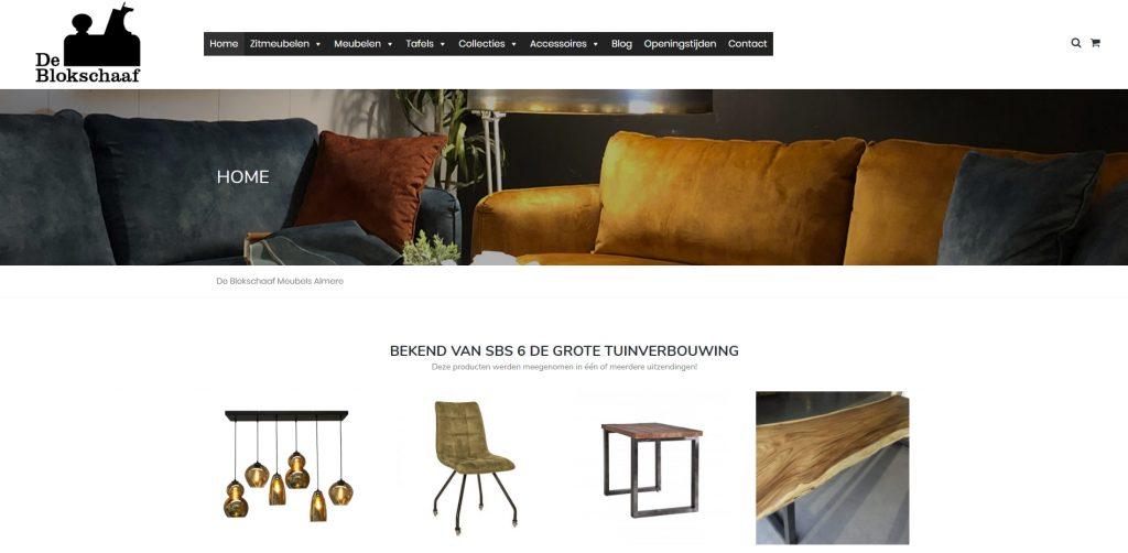 Screenshot van webshop De Blokschaaf